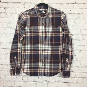 North Face Plaid Button Down Flannel Small